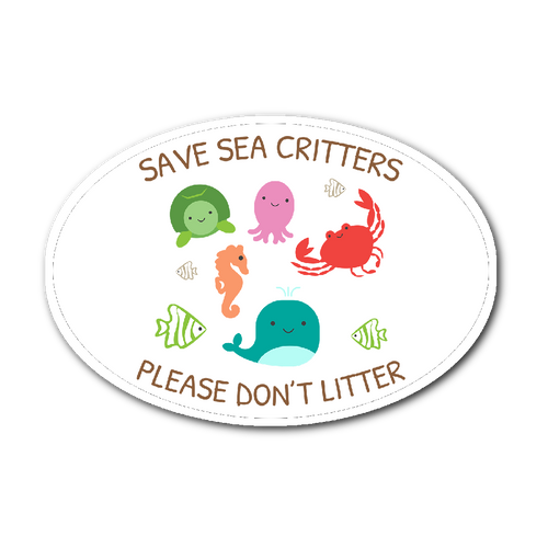 Save Sea Critters Please Don't Litter Sticker - KOBU.US
