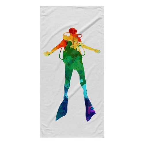 Watercolor Scuba Diver Beach Towel - KOBU.US