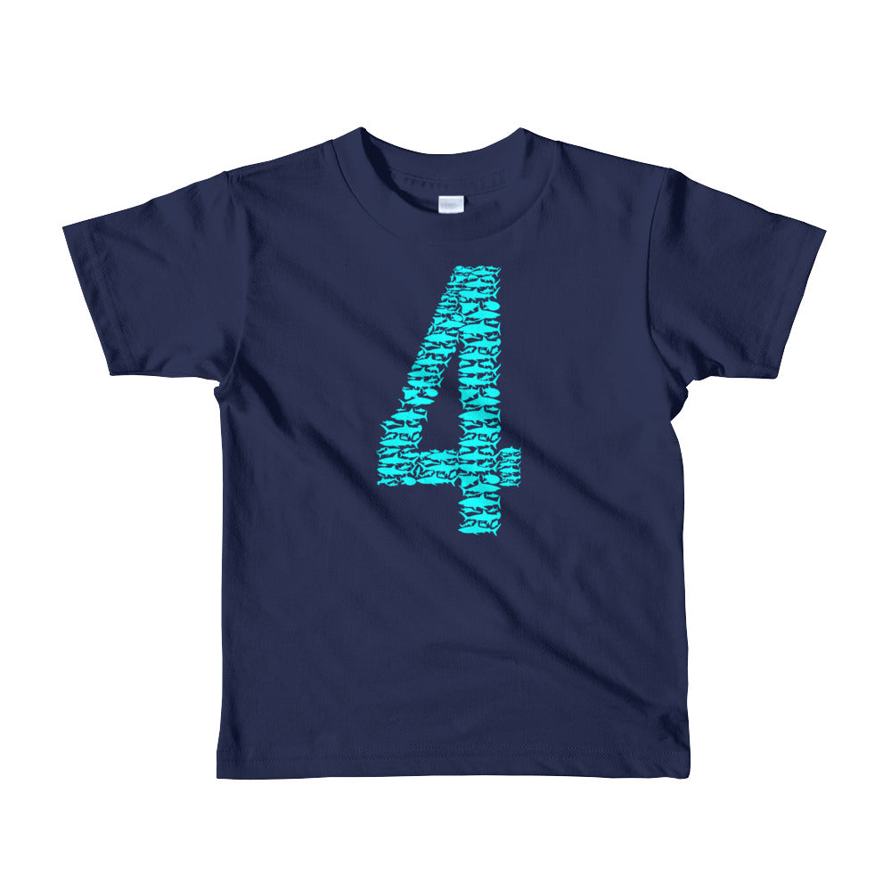 Kids Shark 4th Birthday T Shirt For 4 Year Old Girls And Boys PURE TIDES