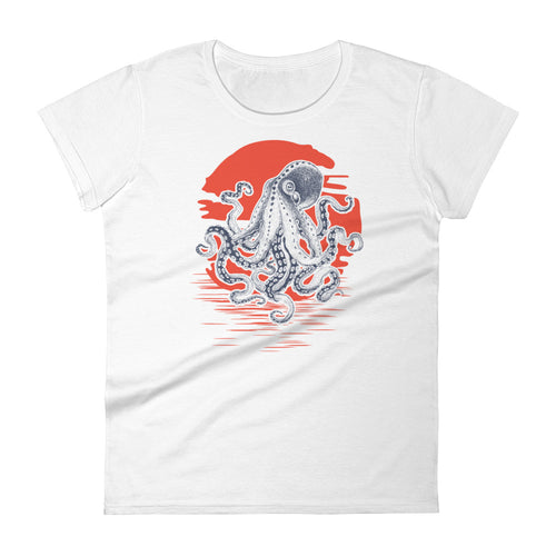 Octopus Sunrise Vintage Retro Women's Octopus T Shirt - KOBU.US