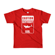 Caution Birthday Girl TShirt Girl's Shark Birthday Shirt - KOBU.US