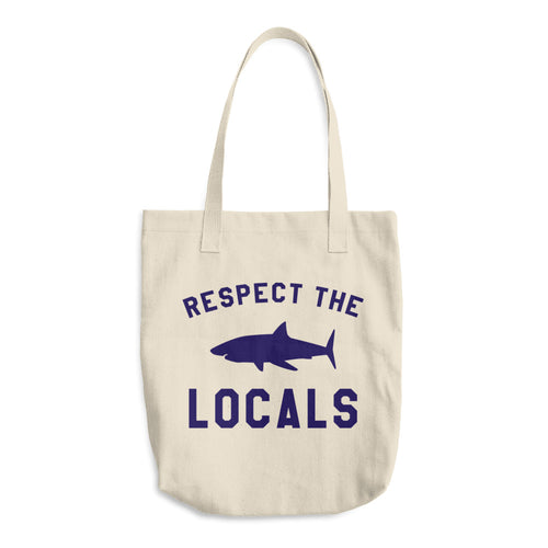 Respect The Locals Canvas Produce Bag Reusable Grocery Bag Shark Conservation Farmers Market Bag - KOBU.US