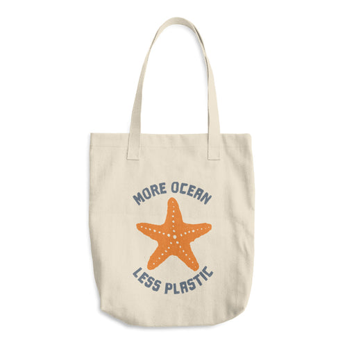 More Ocean Less Plastic Cotton Tote Starfish Produce Bag Reusable Grocery Bag Farmers Market Bag - KOBU.US