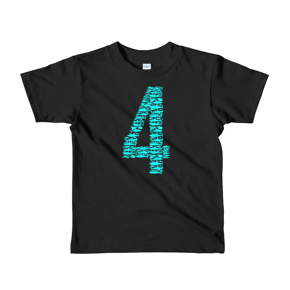 Kids Shark 4th Birthday T Shirt For 4 Year Old Girls And Boys