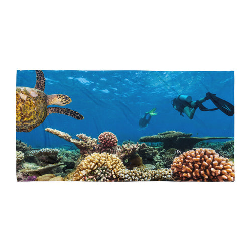 Underwater Reef Scene Scuba Diving Towel - KOBU.US