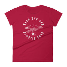 Keep The Sea Plastic Free Sea Turtle T Shirt Womens Ocean Conservation Tee - KOBU.US
