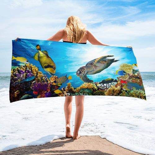 Underwater Ocean Reef Sea Life Beach Towel - KOBU.US