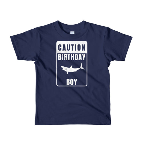 Caution Birthday Boy TShirt Boy's Shark Birthday Shirt - KOBU.US