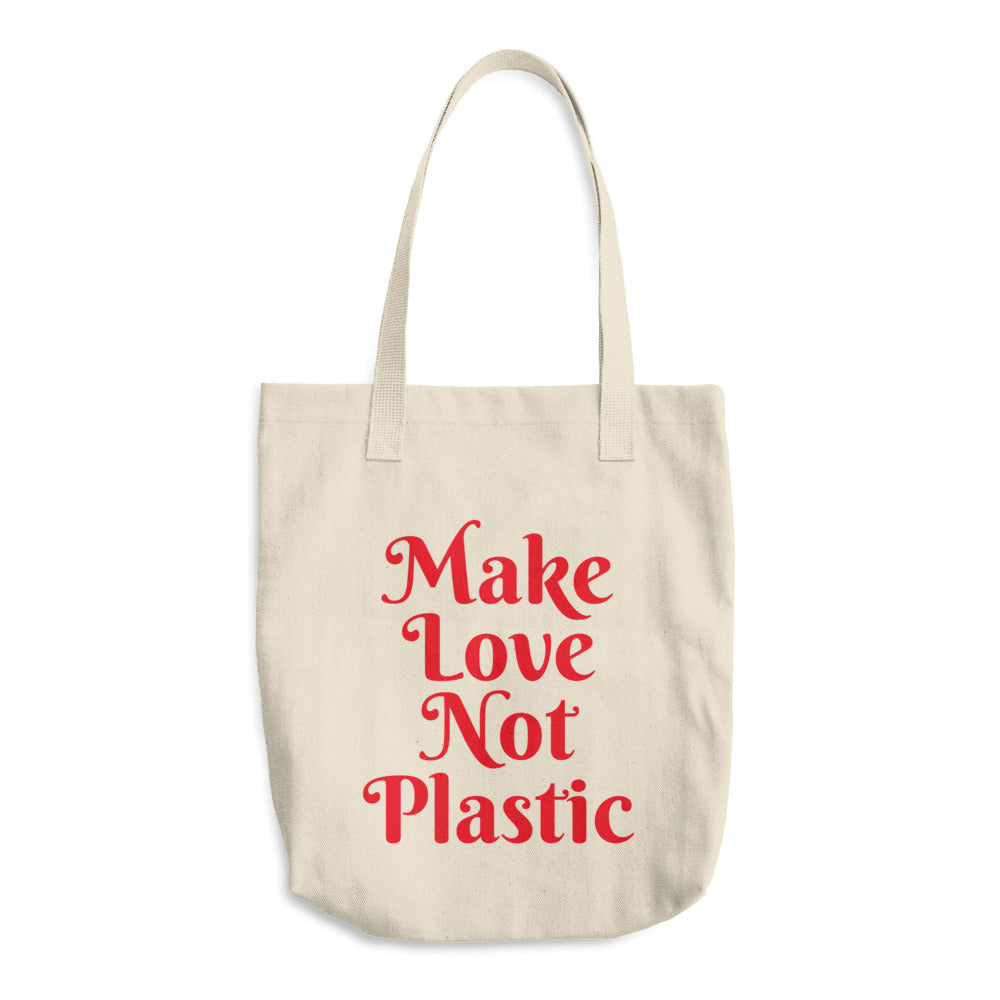 Make Love Not Plastic Canvas Produce Bag Reusable Grocery Bag Farmers Market Bag - KOBU.US