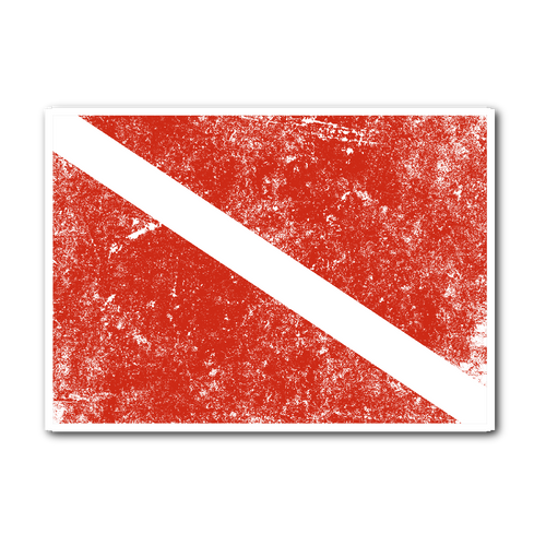 Distressed Vintage Diving Flag Sticker - KOBU.US
