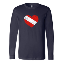 Womens Vintage Distressed Diver Flag Heart Long Sleeve T-Shirt - KOBU.US