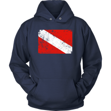 Dive Flag Hoodie Vintage Worn Scuba Diving Pullover For Women and Men - KOBU.US