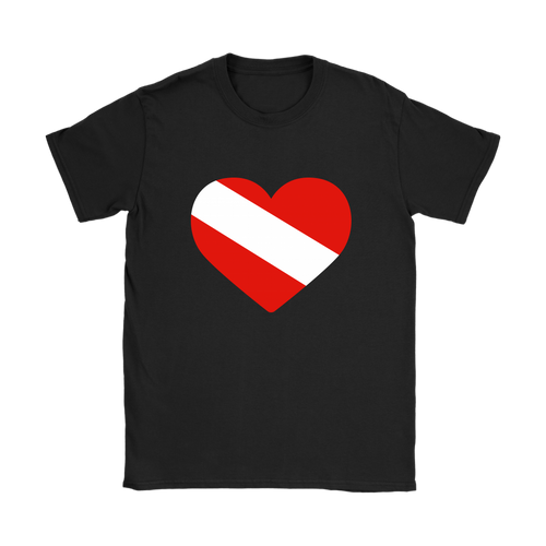Diving Flag Heart Women's T-Shirt - KOBU.US