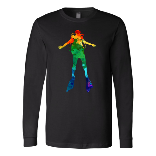 Watercolor Scuba Diver Unisex Long Sleeve T-Shirt - KOBU.US