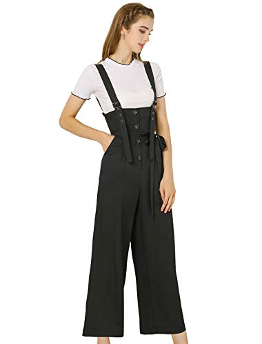 Allegra K High Waist Wide Overall Jumpsuit