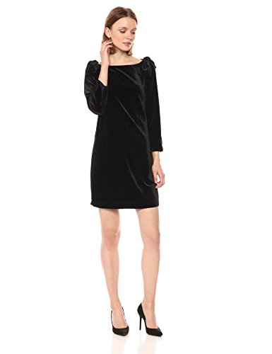 French Connection  Auore Velvet 3/4 Sleeve Black Dress