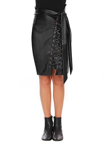 Zeagoo  Lace Up Pencil Skirt