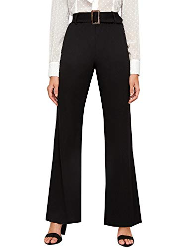 WDIRARA  High Waist Solid Buckle Belted Pants