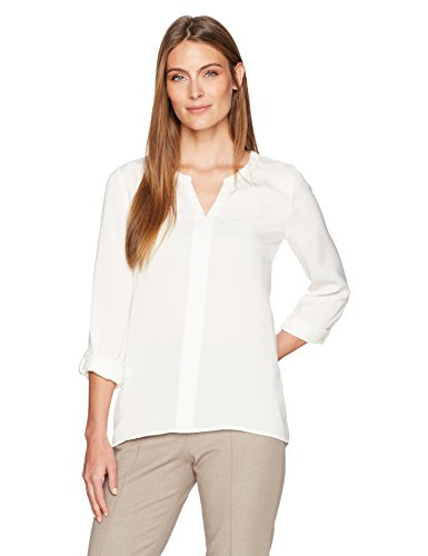 Lark & Ro 3/4 Sleeve Pullover Blouse With Roll Tabs