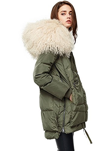 ANNA&CHRIS Down Jacket with Fur Trim Hood