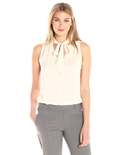 Lark & Ro Sleeveless Tie Neck Top