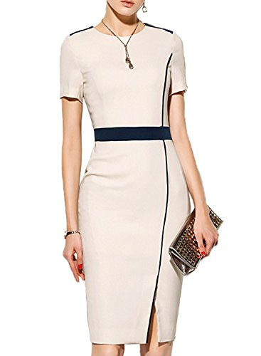 WOOSUNZE Short Sleeve Colorblock Pencil Dress