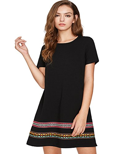 Romwe Boho Embroidered Hem T-Shirt Dress