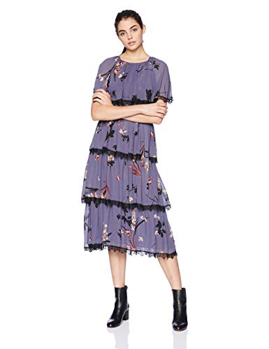 Avec Les Filles Tiered Floral Dress with Lace Trim
