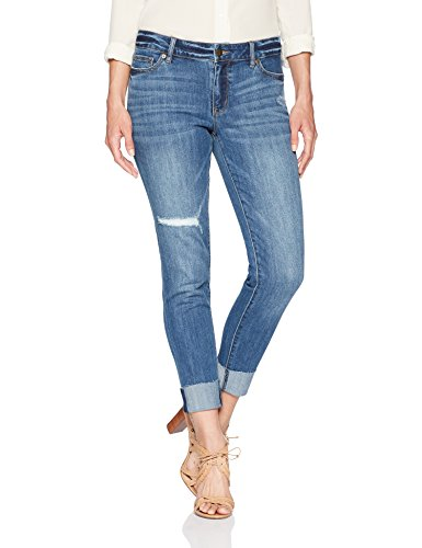 Denim Crush Ankle Crop Skinny Raw High Cuff Jean