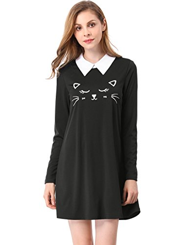 Allegra K Cat Face Print Dress