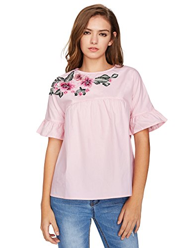 Floerns Floral Embroidery Babydoll Top Blouse