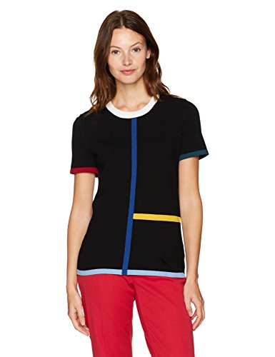Anne Klein Short Sleeve Color Block Sweater Tee