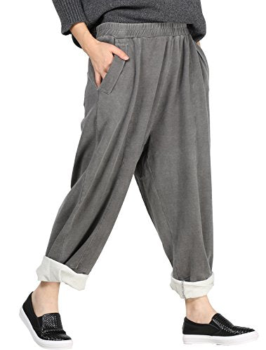 Mordenmiss Elastic Solid Harem Pants with Side Pockets