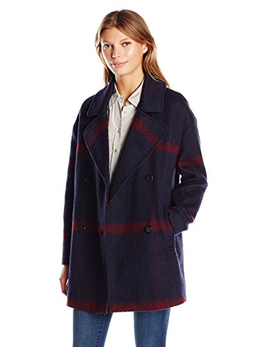 Tommy Hilfiger Double Breasted Oversized Plaid Wool Coat