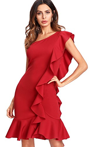 Verdusa One Shoulder Ruffle Bodycon Pencil Dress