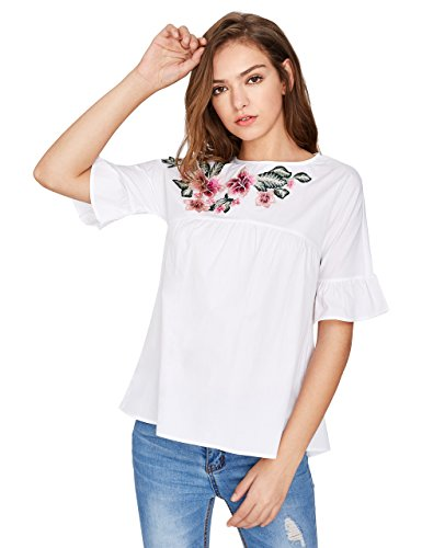 Floerns Floral Embroidery Babydoll Top