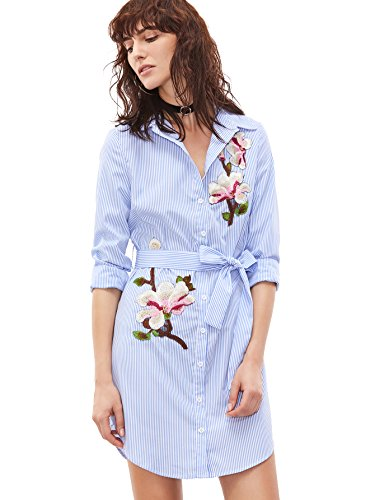 Floerns Vertical Striped Embroidered Floral Shirt Dress