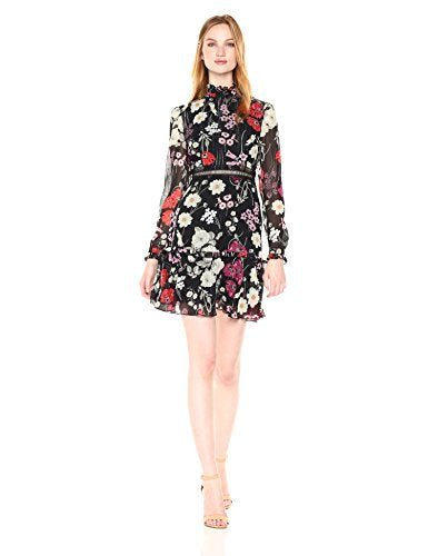 Donna Morgan Floral Dress with Lace Trim
