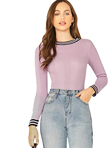 WDIRARA Stripe Solid Knit Slim Top