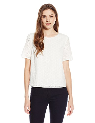 Lark & Ro Short-Sleeve Eyelet Top
