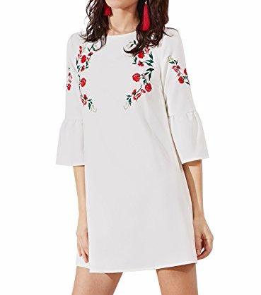 Floerns Bell Sleeve Embroidered Tunic Dress