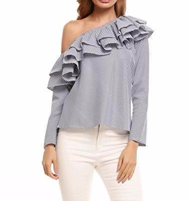 Zeagoo Off The Shoulder Ruffle Top