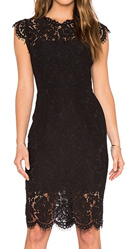 Women's Sleeveless Lace Cocktail Dress Crew