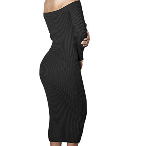 Off Shoulder Sexy Bodycon Knitted Sweater Dress