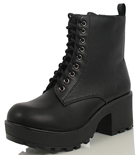 SODA Magpie Faux Leather Lace-Up Combat Boots