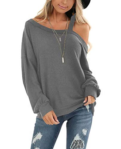 EZBELLE Off Shoulder Long Sleeve Oversized Sweater