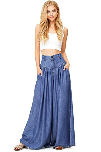 Vibrant  Super Wide Leg Denim Pants