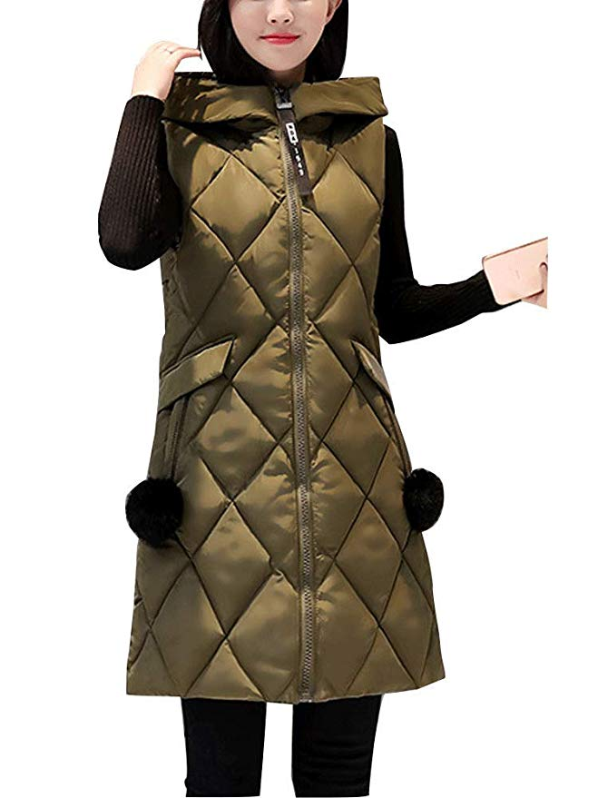 Front Hooded Quilted Puffer Long Down Vest