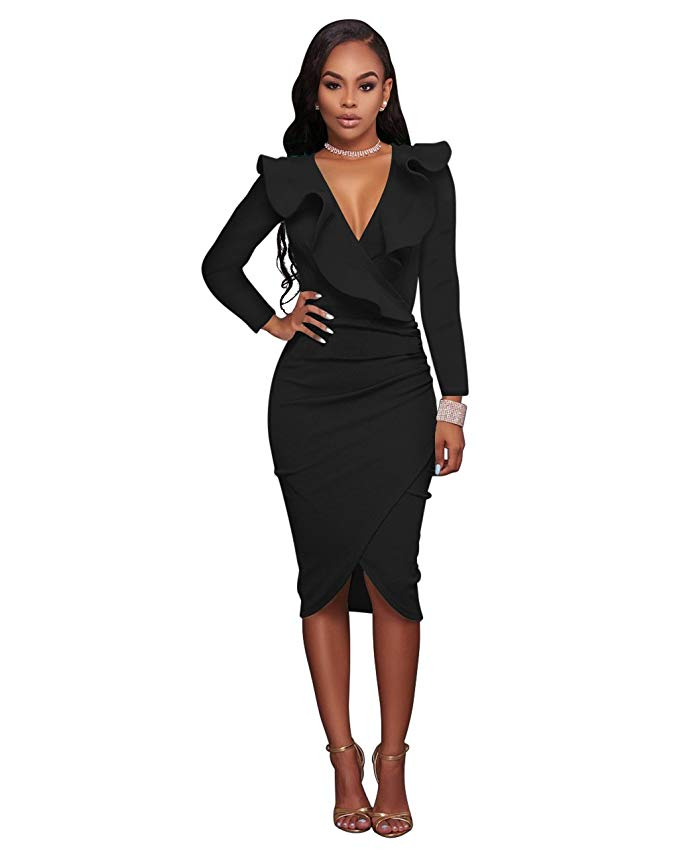 VERTTEE V Neck Ruffle Plain Bodycon Mid Dress