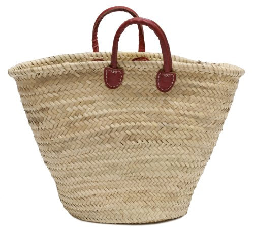 Moroccan Straw Market Bag w/ Red Handles